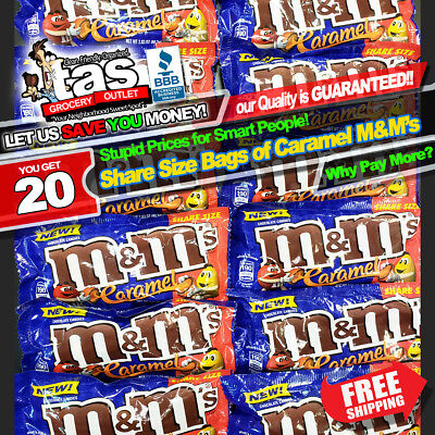 (20) SHARE SIZE Bags of Milk Chocolate Caramel M&M's Candy~SUPERB Quality