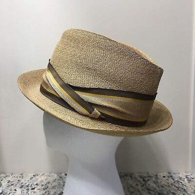 212ce47f Vintage Churchill Ltd Men's Fedora Italy Milan Straw Woven Hat Size 7 1/4