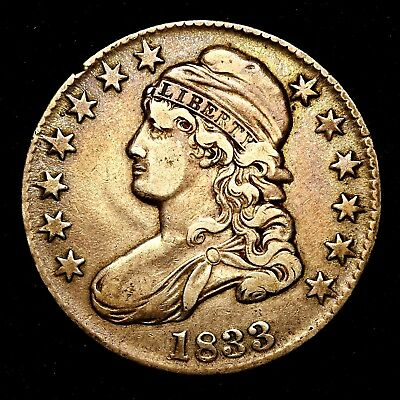 1833 ~**TONED XF/AU**~ Silver Capped Bust Half Dollar Antique US Old Coin! #A41