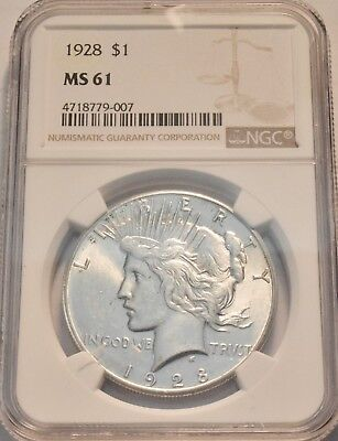 1928 P $1 NGC MS 61 Peace Silver Dollar, Scarce, KEY Date Coin, Uncirculated