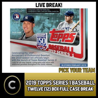 2019 Topps Series 1 Baseball - 12 Box (Full Case) Break #a091 - Pick Your Team