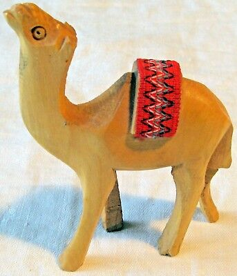"""4.5"""" x 3""""  Hand Carved Wooden Camel  L2"""
