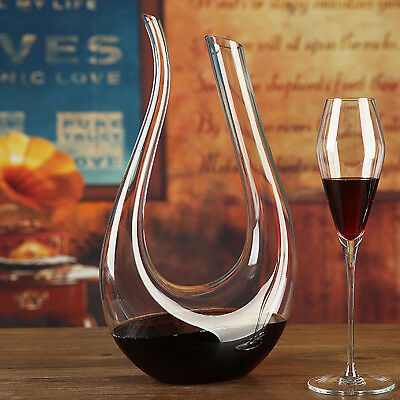 1.5L Fashion Crystal Glass U-shaped Horn Wine Decanter Pourer Wine Container N