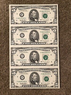 Uncirculated and Uncut Sheet of $5 Bills Year 1995 United States Currency