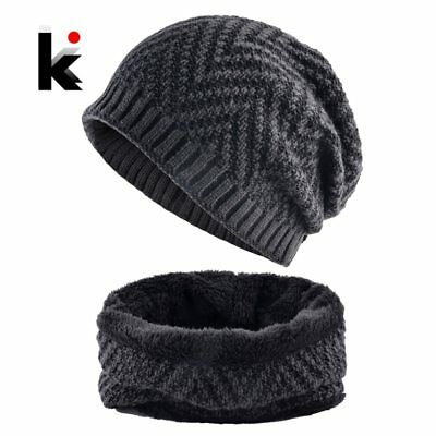 Men's Hat And Scarf Sets Winter Knitted Thick Bonnet Caps Men Add Velvet