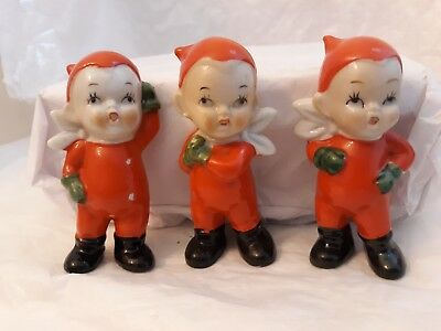 Vtg 3 Christmas Elves Pixies Red White Green Porcelain Figurines Painted Japan