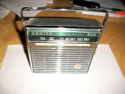 Zenith Transistor Radio deluxe Royal   500 Vintage Works well