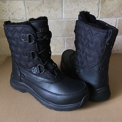 e475c02ff2a UGG LACHLAN BLACK Waterproof Leather Short Winter Rain Snow Boots Size 9  Womens