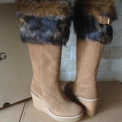 432f9fdd5e6 UGG VALBERG TOSCANA Fur Cuff Chestnut Suede Wedge Tall Boots Size Us ...