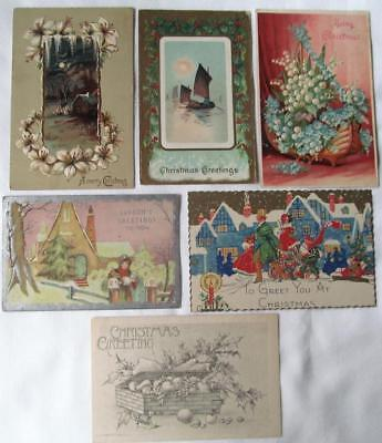 lot of 6 Vintage 1908- 1912 CHIRSTMAS Postcards #22-e