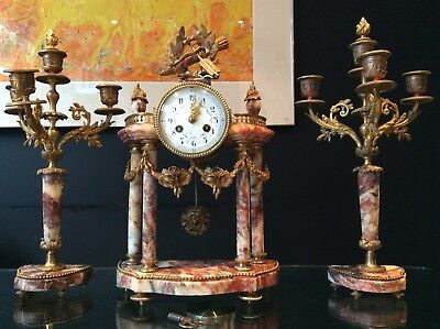 Superb & rare 19th C. French red marble Portico clock & Ganiture