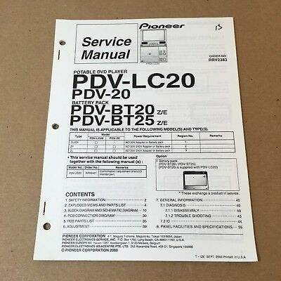 Pioneer Service Manual Order No. RRV2383 PDV-LC20 PDV-20 60 Pages