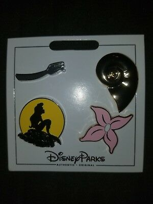 Disney Parks Authentic Ariel Little Mermaid 4 Pin Themed Set on Card