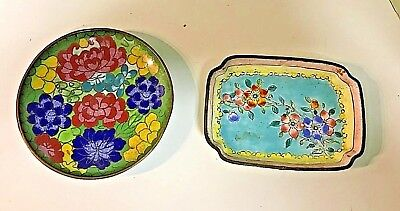Pair Of Two Lovely Chinese Cloisonne Floral Trinket Dishes