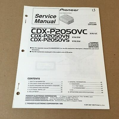 Pioneer Service Manual Order No. CRT2388 CDX-P2050VC X1N/UC 67 Pages