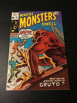 Where Monsters Dwell #11 (Sep 71 Marvel) Marie Severin & Herb Trimpe Cover Vf!!!