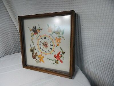 "Vintage! Wood Framed 15""Wall Glass Door Needlepoint Bird/Butterfly Display Clock"