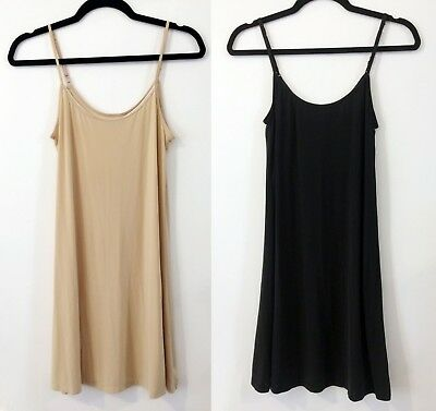 Set of 2 Gap Body Full Slip Chemise Nylon Black Nude Beige Sz Small Above Knee