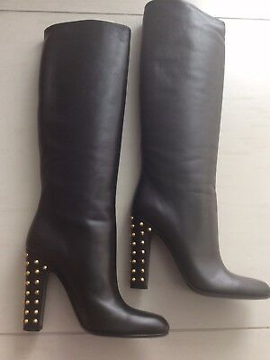 Gucci Rodano Black Calf Leather High Stacked Studded Heel Tall Boots - NIB  IT40 288b4d97006e4