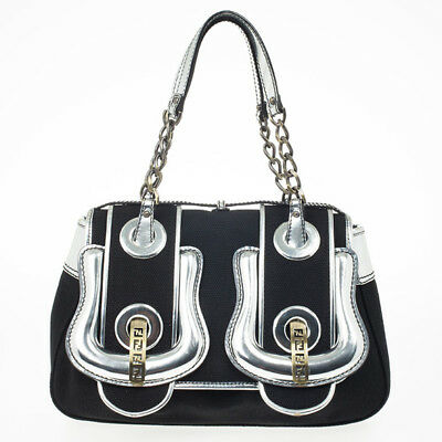 d5f55cd8a1 Authentic Fendi Black Canvas and Silver Patent Leather B Bag with Dust Bag