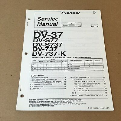 Pioneer Service Manual Order No. RRV2320 DV-37 S77 S737 737 737-K 96 Pages