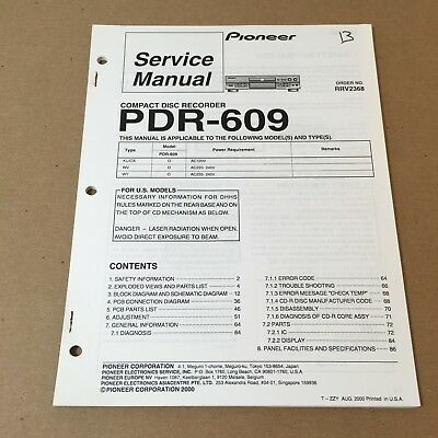 Pioneer Service Manual Order No. RRV2368 PDR-609 90 Pages