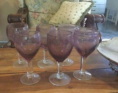 Set Of Six Amethyst Glass Wine Glasses