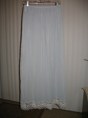 """Forbidden Delights"" Nylon 2X Long Half Slip Baby Blue Lace NWOT"
