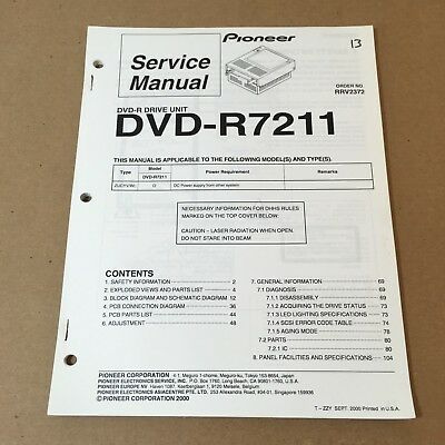 Pioneer Service Manual Order No. RRV2372 DVD-R7211 106 Pages