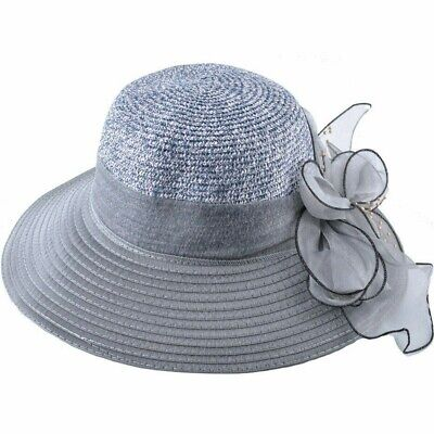 Summer Wide Brim Sun Hats For Women Organza Flower Straw Cap Lady Sun