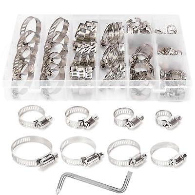 80Pcs Assorted Stainless Steel Hose Clamp Kit Jubilee Clip Set 8-44mm + Z Wrench