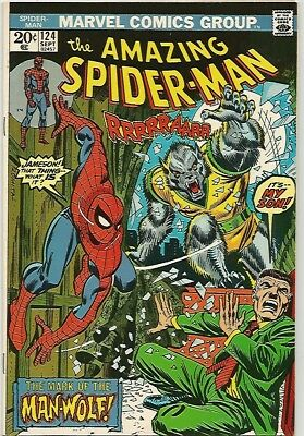 AMAZING SPIDER-MAN #124    KEY MAN-WOLF Cover!  Solid VF8.0