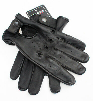 Men's Driving Gloves Black Sheep Skin Leather Unlined -TW1002