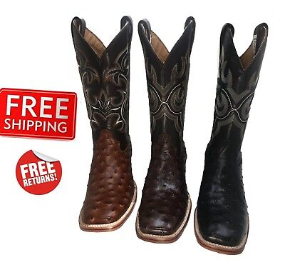 Men's Cowboy Boots Ostrich Print Leather Western Rodeo Square Toe Boots