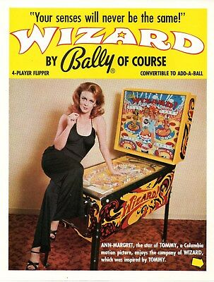 Bally WIZARD Pinball Machine Flyer Brochure - Ann Margret