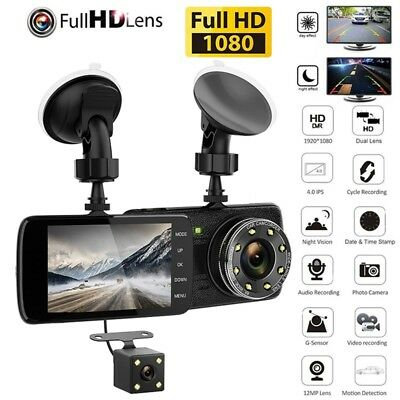 Dual Car Camera True HD 1080P G-sensor Recorder Crash Cam H.264 Dash Video DVR