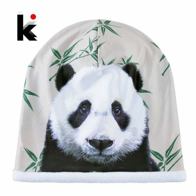 2018 Winter Skullies Beanies Women Cute Panda 3D Printing Hats For Men Fashion