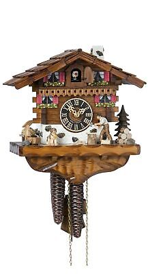 Cuckoo Clock Black Forest house with moving wood chopper HO 149 NEW