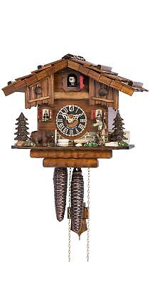 Cuckoo Clock Black Forest house with Forest scene and moving hunter HO 151 NEW