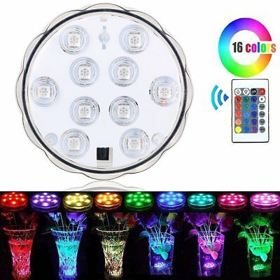 Swimming Pool Spa LED Underwater Light RGB 16 Color Remote Control 10LED