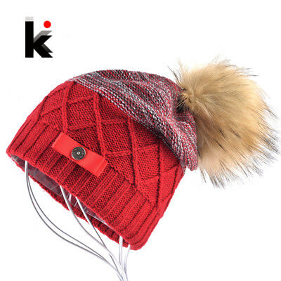 Imitation Fur Ball Beanie Hat Women Winter Double Layer Knitted Skullies