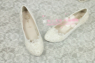 Wedding lace WEDGE snowflakes Bride White pearls shoes Bridal