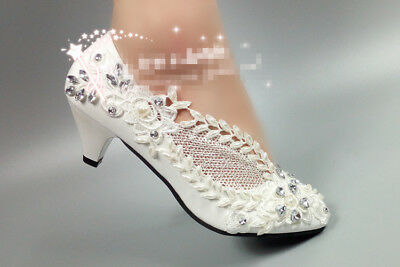 Bride heel shoes high low flats Wedding crystal white Lace Bridal