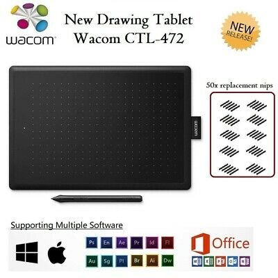 Wacom CTL-472 Bamboo Pen Drawing Tablet Graphic FREE 50 x Pen Nibs BAG Window PC