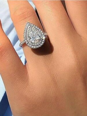 3 Ct Near White Pear Moissanite Engagement Double Halo Ring 925 Sterling Silver