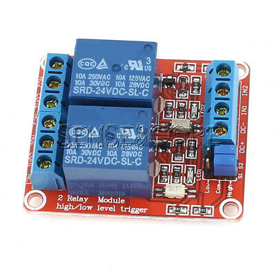 24V 2 Channel Relay Module With Optocoupler Support High and Low Level Trigger