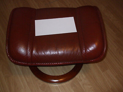 Ekornes Stressless stool, maroon leather, perfect comfort with a recliner chair