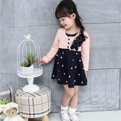 Spring Autumn Baby Girls Round Collar Long Sleeve Princess Dress Clothes WQ