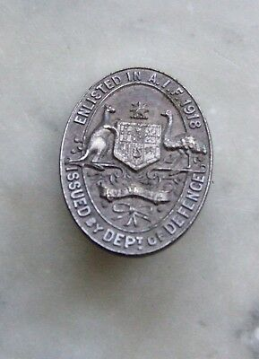 A.I.F. 1918 Enlistment Badge, Stokes, Melbourne.