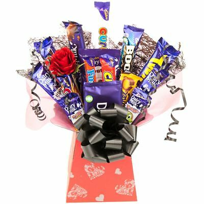 Cadbury Valentine Treats Chocolate Bouquet Gift Hamper -Silver Hearts